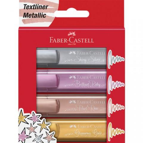 Faber Castell Fosforlu Kalem 4'lü Karton - Metalik Renkler