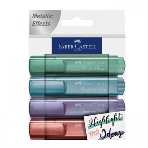 Faber Castell Fosforlu Kalem Metalik 2021 Yeni Renkler 4'lü Set