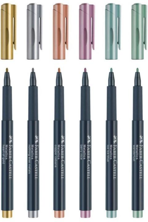 Faber Castell Kalın Uçlu 6'lı Metalik Markör Set