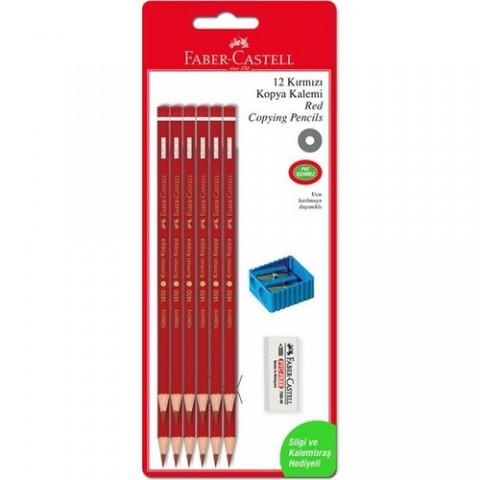 Faber Castell Kırmızı Kopya Boya Kalemi 12'Li + Silgi + Kalemtıraş