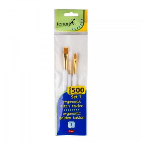 Fanart 500 Serisi Ergonomik Altın 3'lü Fırça Seti - Set 1