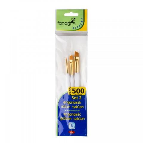 Fanart 500 Serisi Ergonomik Altın 3'lü Fırça Seti - Set 2