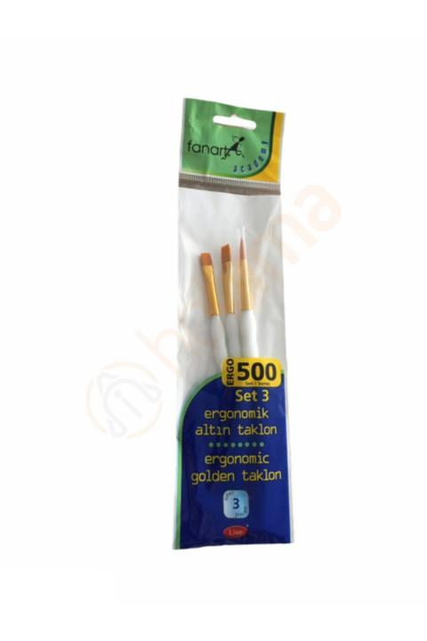 Fanart 500 Serisi Ergonomik Altın 3'lü Fırça Seti - Set 3