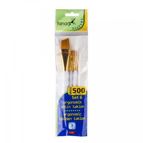 Fanart 500 Serisi Ergonomik Altın 3'lü Fırça Seti - Set 6