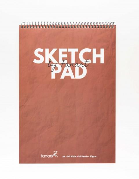 Fanart Academy Üstten Spiralli A4 Sketch Pad 80gr 50yp - İstanbul Kırmızısı