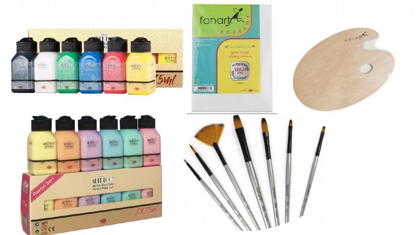 Fanart-Artdeco Akrilik Boya Mini Boy Başlangıç Seti (Canlı Renkler + Pastel Renkler + Fanart 650 Fırça Seti + Ahşap Oval Palet+ Fanart 18x24cm Tuval)