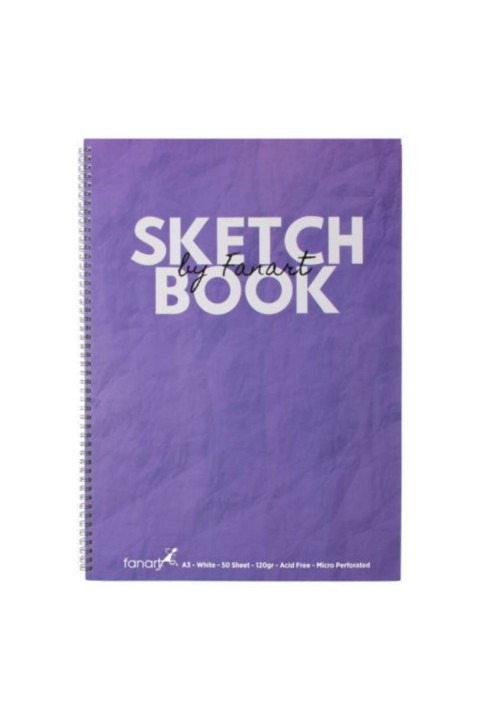 Fanart Sketch Book (eskiz Defteri) A3 Spiralli 120 Gr Beyaz Kağıt- Mor