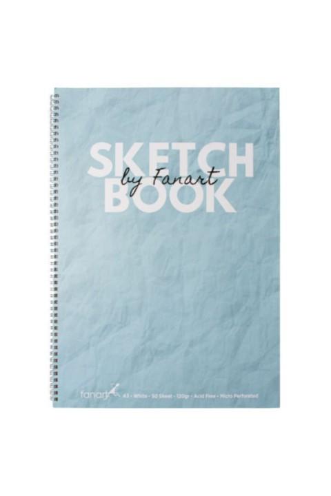 Fanart Sketch Book (eskiz Defteri) A3 Spiralli 120 Gr Beyaz Kağıt- Turkuaz