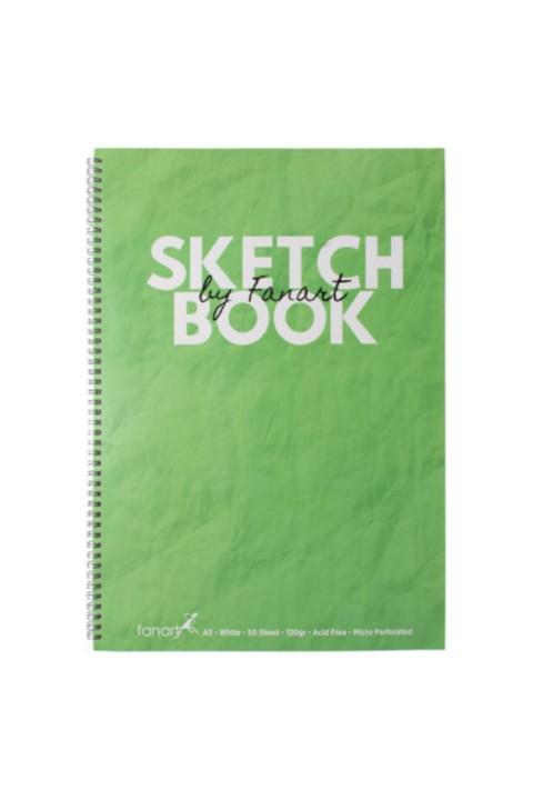 Fanart Sketch Book (eskiz Defteri) A3 Spiralli 120 Gr Beyaz Kağıt- Yeşil
