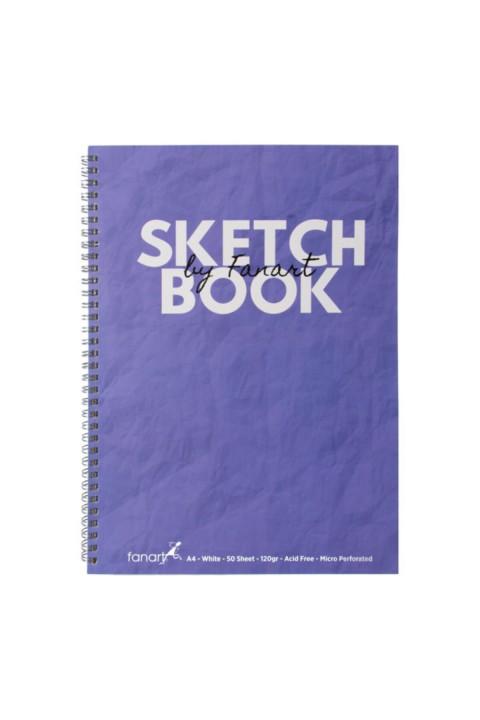 Fanart Sketch Book (Eskiz Defteri) A4 Spiralli 120 gr Beyaz Kağıt- Mor