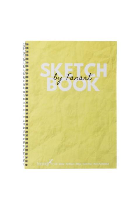 Fanart Sketch Book (Eskiz Defteri) A4 Spiralli 120 gr Beyaz Kağıt- Sarı
