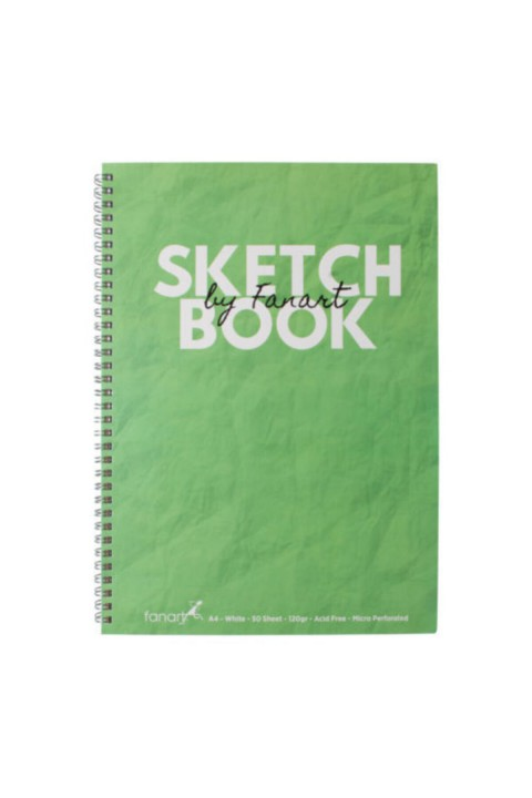 Fanart Sketch Book (Eskiz Defteri) A4 Spiralli 120 gr Beyaz Kağıt- Yeşil