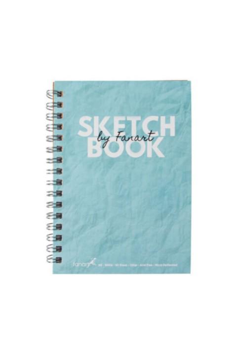 Fanart Sketch Book (eskiz Defteri) A5 Spiralli 120 Gr Beyaz Kağıt- Turkuaz