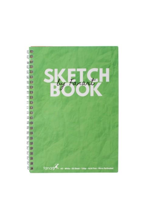 Fanart Sketch Book (Eskiz Defteri) A5 Spiralli 120 gr Beyaz Kağıt- Yeşil