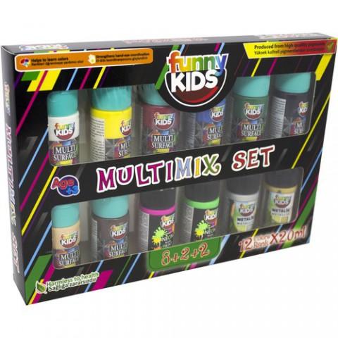 Rich Funny Kids 8+2+2 Multimix Set 12 Renk x 20 ml
