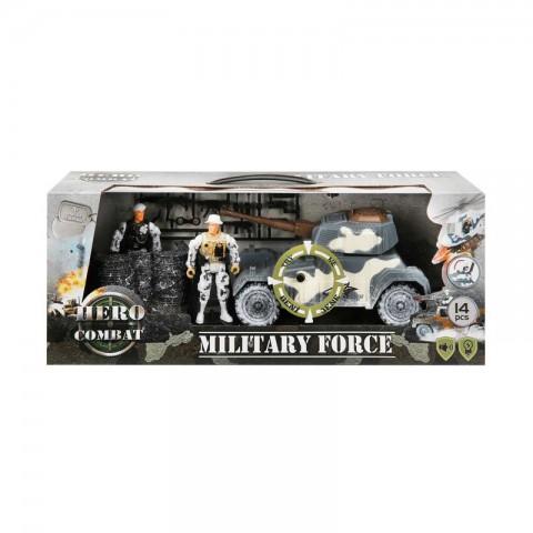 Hero Combat Military Force Askeri Oyuncak Seti - 2 Asker 1 Arabalı Set