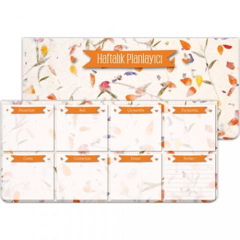 Keskin Color Ebat: 12*26 cm Haftalık Planner Blok Çiçek ve Yaprak