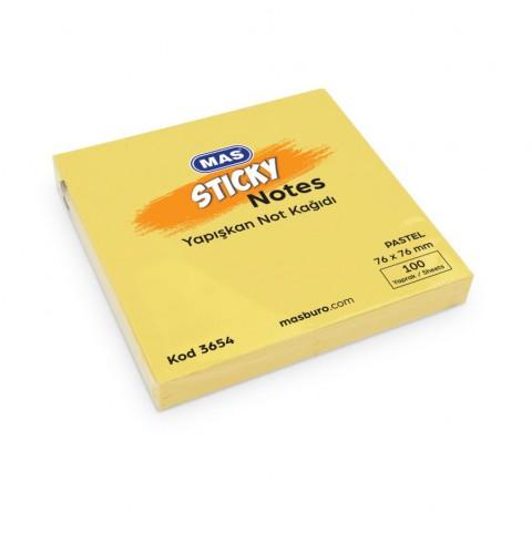 Mas Yapışkanlı Not Kağıdı 76x76mm 100yp - 3654