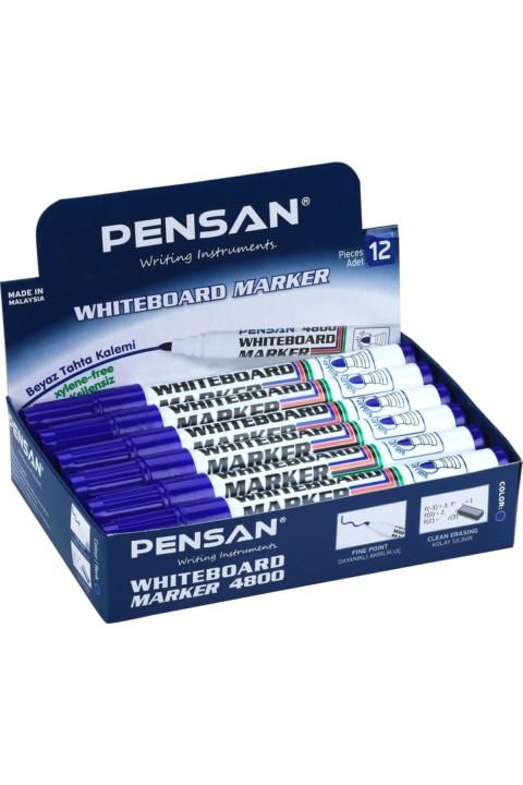 Pensan 4800 Beyaz Tahta Kalemi 12'li Kutu - Mavi