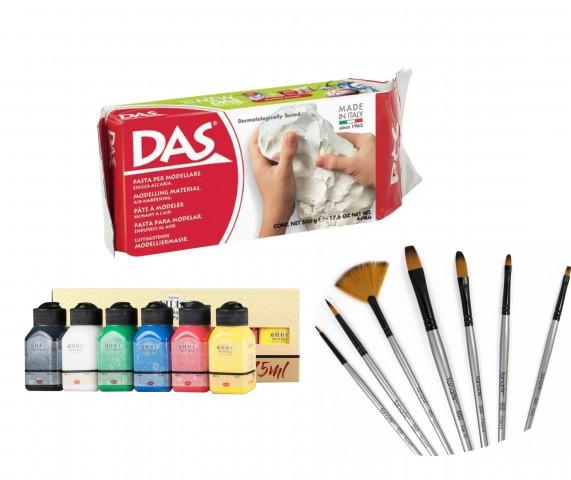 Seramik Başlangıç Seti (Artdeco Akrilik CANLI Renkler 6x75ml + Das 500 gr Seramik Kili + Fanart 650 Karma Fırça Seti)