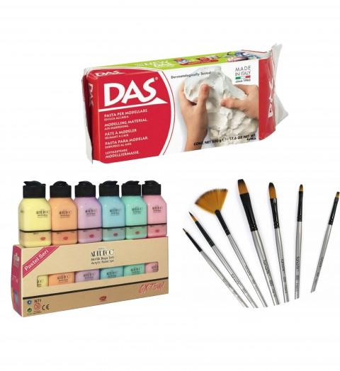 Seramik Başlangıç Seti (Artdeco Akrilik Pastel 6x75ml + Das 500 gr Seramik Kili + Fanart 650 Karma Fırça Seti)