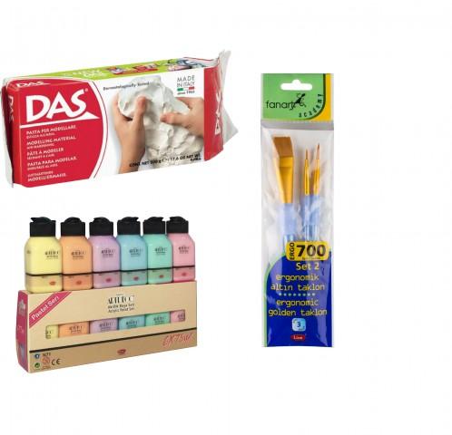 Seramik Başlangıç Seti (Artdeco Akrilik Pastel 6x75ml + Das 500 gr Seramik Kili + Fanart 700 Set 2 Fırça Seti)