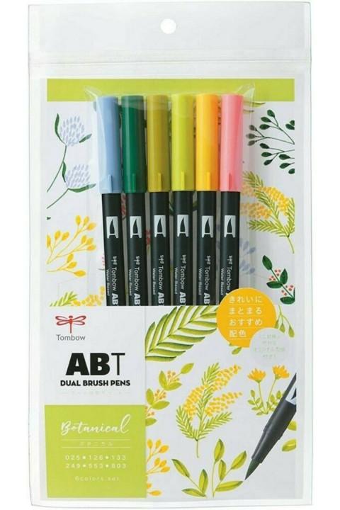 Tombow ABT Dual Brush Pen Grafik Kalemi 6'lı Set - Botanical
