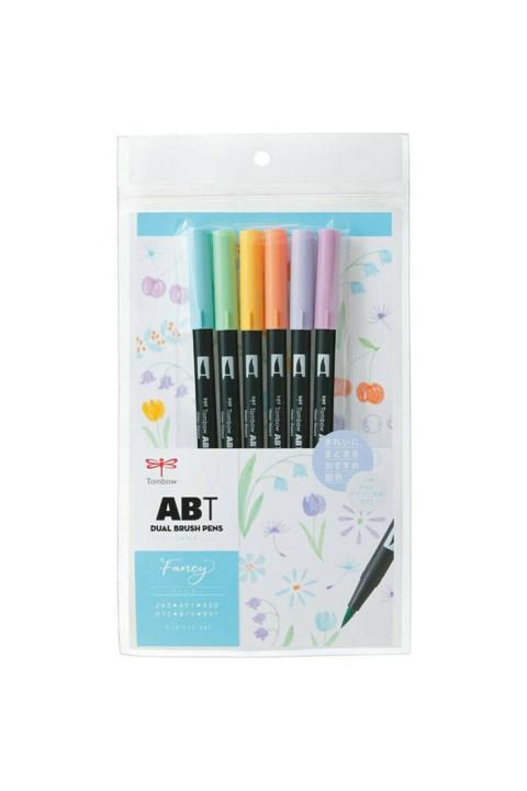 Tombow ABT Dual Brush Pen Grafik Kalemi 6'lı Set - Fancy