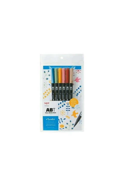 Tombow ABT Dual Brush Pen Grafik Kalemi 6'lı Set - Nordic