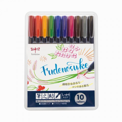 Tombow Fudenosuke Brush Pen 10'lu Fırça Uçlu Kalem Set - Sert Uç