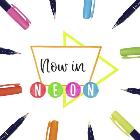Tombow Fudenosuke Yeni Brush Pen 6'lı Fırça Uçlu Neon Kalem Set - Sert Uç