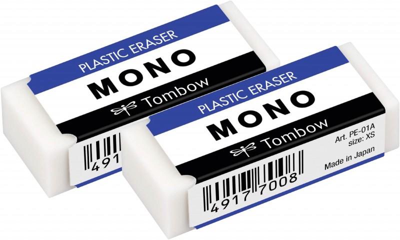Tombow MONO 17x11x43mm 2 Adet Beyaz Silgi Paketli