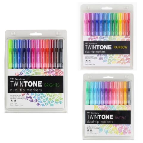 Tombow Twintone 36'lı Set - Pastel Renkler / Parlak Renkler / Rainbow