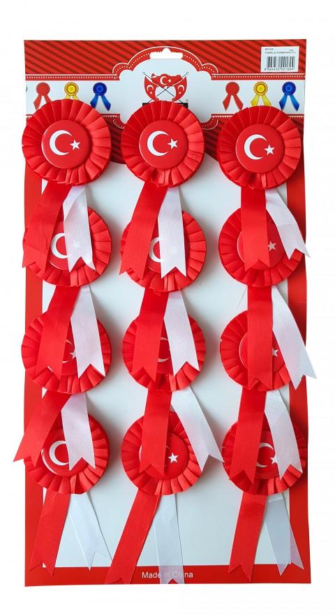 Türk Bayraklı - Kurdeleli 23 Nisan Kutlama Rozeti 1 Adet