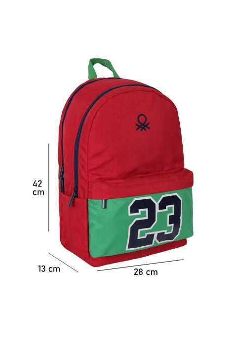 """United Colors of Benetton 2021 Yeni Sezon Okul Çantası """"23 Numara"""" Kırmızı 70226"""