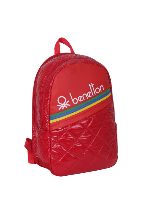 United Colors of Benetton 2021 Yeni Sezon Okul Çantası Kapitone Kırmızı 70236