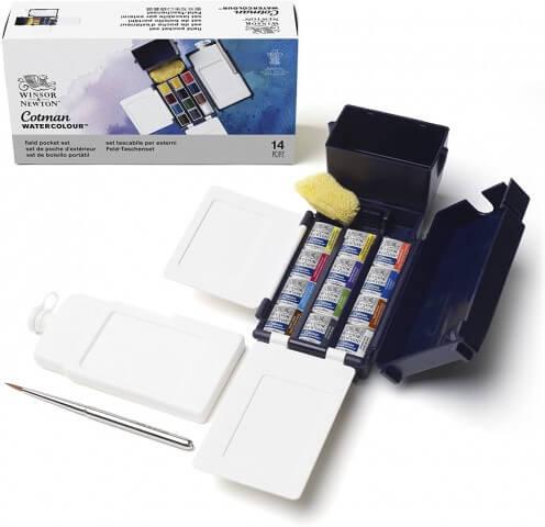 Winsor Newton Cotman Field Box (Kır Tipi) 12'li Suluboya Yarım Tablet