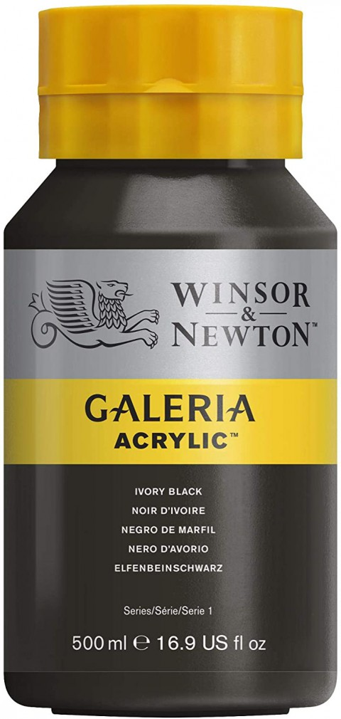 Winsor Newton Galeria Akrilik Boya 500ml - Ivory Black 311