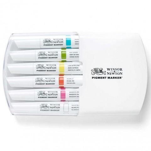 Winsor & Newton Pigment Marker 6'lı Güçlü Tonlar Set