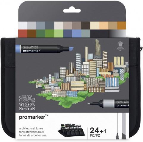 Winsor Newton Promarker 24'lü Wallet Set - Mimari Tonlar (Architectural Tones)