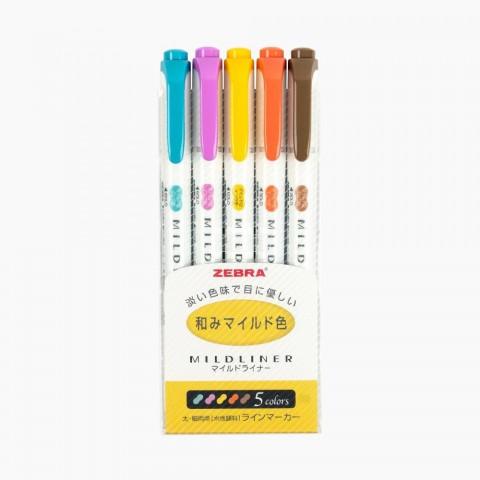 Zebra Mildliner Çift Taraflı İşaretleme Kalemi 5'li Set- Sıcak Renkler