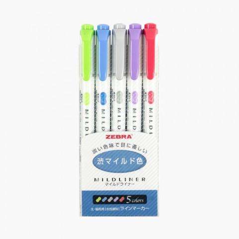 Zebra Mildliner Çift Taraflı İşaretleme Kalemi 5'li Set- Soğuk Renkler
